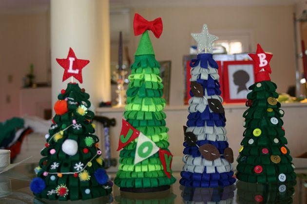arbol de navidad con telas